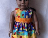 """American Girl/18"""" Doll Reversible Apron or Pinafore in Rainbow Ladybug and Orange FREE SHIPPING"""