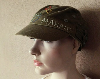 EMBROIDERED GREEN HAT Mahalo