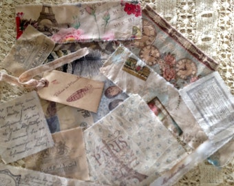 SAMPLER PACK  of 11 Hand Stamped French Style Motifs - Lots of French script