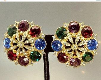 Vintage Multi Rhinestone Clip Earrings