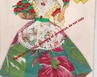 Vintage Silk Embroidered Postcard Elsi Gumier, JDP Valencia Spain
