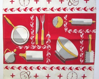 Pair of Vintage 1950's Mid Century Design Kitchen Utensils Cotton Placemats, Table Mat, Red and White, Cooking Items Imagery