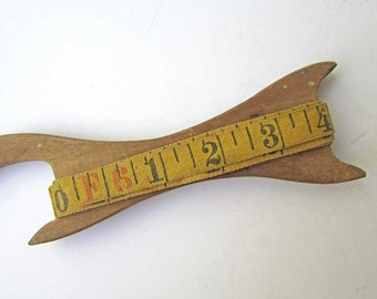 Vintage 1930's Wooden Tape, Twine, Fish Line Handmade Long Handled Reel with 6 ft Length of Cloth Number Measuring Tape, Wall Hanger Reel,