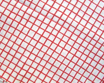 Vintage 1980 Percale Full Size Flat Sheet Red and White Grid Geometric Design,  Vintage Bedding, Recycled Fabric