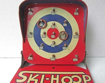 Vintage 1940s Automatic Toy Co  Litho Tin Ski-Hoop Table Top Ring Toss Game w Rings, Red, White, and Blue, Vintage Toy, Collector Toy