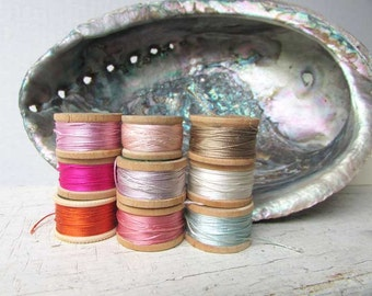 Lot of 9 1930-40  Vintage Small Wooden Silk Twist Thread Spools with Old Threads, Pastel Colors, Sewing Thread, Sewing Collectible