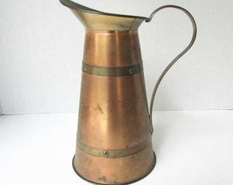 Vintage Brass Banded Copper Ewer, Tall Vase, Centerpiece Ewer, Old Patina, 1970's Vintage