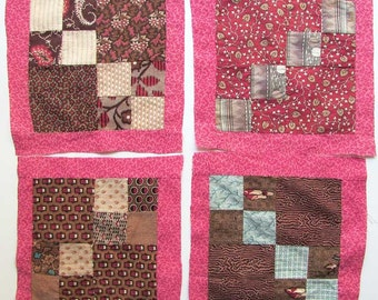 Group of 4 Antique Victorian 1890's Four Patch Variation Quilt Squares w Cotton Calico Fabrics,  Quilt Blocks, Quilting, Mats, Double Pink