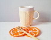 Orange Coasters (set of 4) ,under 25usd,decorative coasters for her,christmas stocking stuffers,mothers day gift ideas