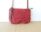 date purse  • small crossbody bag - geometric floral print • brick red canvas - hand screenprinted - neon - hot pink • talavera