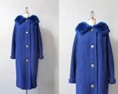 1950s Coat / Vintage 50s Shearling Trimmed Wool Coat / 1960s Royal Blue Coat