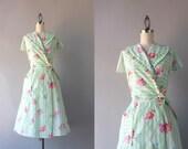 1950s Dress / Vintage 50s Wrap Dress / Striped Floral Ruffled Wrap Dress