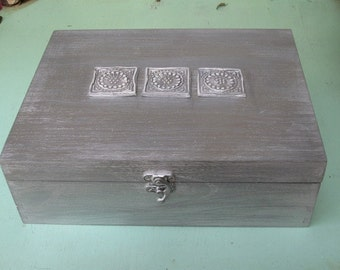 JEWELRY BOX Silver Color Boho Chic Home Decor, necklaces storage, Eearring box, jewelry display