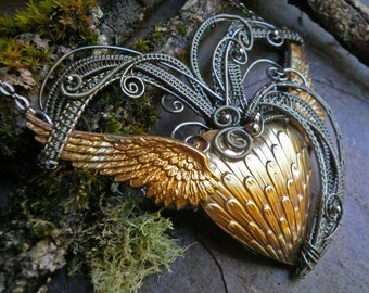 Gothic Steampunk Heart with Wings Outspread Necklace