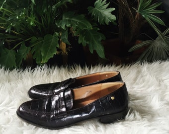 1990s Brown Leather Loafers Size 7.5N