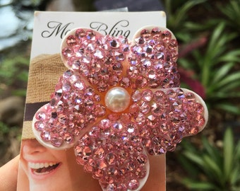 Mini megawatt Swarovski light rose hair flower with swarovski pearl at center