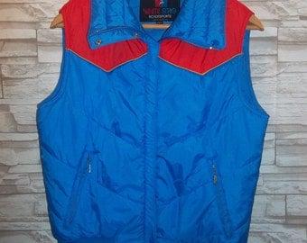 Ladies Vintage 70s White Stag Ski Jacket Vest Coat Bright Blue with Red Details L Indie B44
