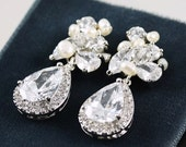 Rhinestone, Freshwater Pearl and Swarovski Crystal Drop Bridal Earrings