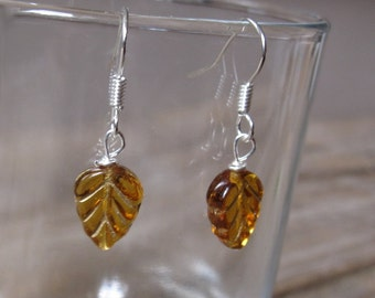 Amber Glass Leaf Drop Earrings - Minimal Ochre Forest Dangle Earrings