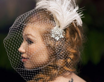Crystal Love-Bridal Birdcage Veil-Ostrich Plume-Vintage Rhinestones- FEATURED on Rustic Wedding Chic-CRBoggs Original Design