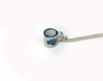 Teacup Necklace, Miniature Tea cup necklace, Afternoon Tea