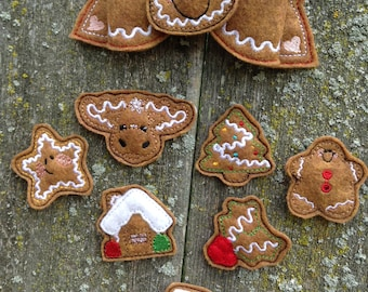 Gingerbread Machine Embroidery Bow Design Set interchangeable centers 5x7 hoop