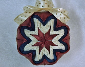 Quilted Christmas Ornament Dark Rust/Blue/Antique White