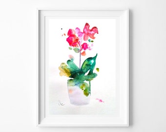 """Original watercolor painting, floral orchid watercolor painting, botanical art  13.37"""" x 9.27"""" inches"""