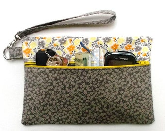 Grey Floral Front Zippered Purse, Orange Yellow Flowers Wristlet, Grey Clutch, Womens Wallet, Floral Makeup or Phone Holder, Camera Bag