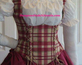 DDNJ Choose Fabric Reversiable Side Lace Underbust Corset Style Bodice Plus Custom Made ANY Size Renaissance Pirate Wench Costume Medieval