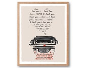 LOVE LETTER, Typewriter Art Print - Love Sign, Typography print, Illustration, Classic Typewriter, Vintage Art, Wall Art, Decorative Art