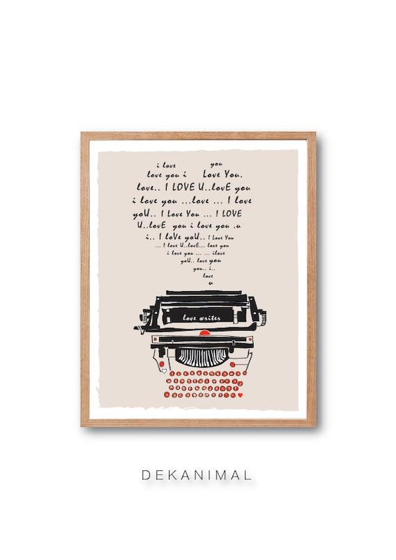 LOVE LETTER, Typewriter Art Print - Love Sign, Typography print, Illustration, Classic Typewriter, Vintage Art, Wall Art, Decorative Art