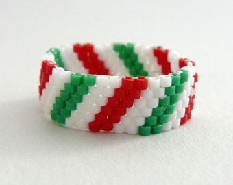 Red, White and Green Stripe Ring, Candy Cane Striped Beaded Band, Christmas Colors Beadwoven Ring, Made to Order Beadwork Jewelry