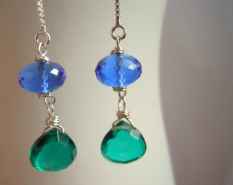 Threader Earrings, Bright Emerald Green Crystal Quartz and Sapphire Blue Threader Earrings, Box Chain
