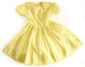 1950s Girls Party Dress / Sheer Overdress in Yellow and White Dotted Swiss / Vintage Dress / Rockabilly Daughter