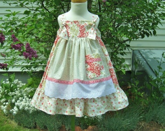 Toddler knot dress, size 2T, pink and green, twirly apron dress, summer dress, ready to ship, pink flowers, party dress, girls knot dress