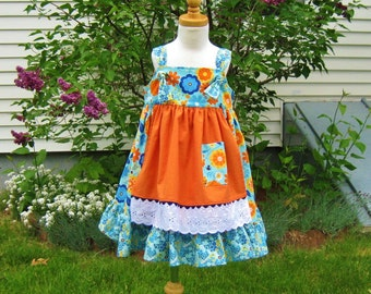 Toddler knot dress, size 4/4T, ready to ship, orange gold flowers, teal & blue, apron, dress, summer dress, twirly dress, party dress, OOAK