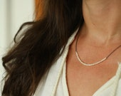Stacked Pearl Necklace Tiny Pearl Necklace Bridesmaid Gift Wedding Gift Gold Filled Chain Simple Necklace