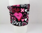 Hot Pink Love and Hearts Coffee Sleeve Adjustable Hot Pink White Red Black Valentines Day