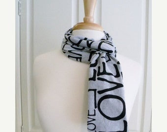 SALE Valentines Day Heather Gray Black LOVE Infinity Circle Scarf Double Loop Scarf  Cotton Jersey Knit