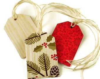 Funky Tags  Large Paper Gift Tags in Holiday Mix Set of 12  (15C)