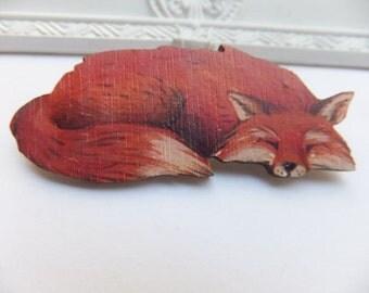 Sleepy Sly Fox Wooden Brooch