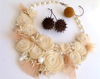 Vintage tales XXVI necklace, mixed media wearable fiber art, floral, bead embroidery, bohemian statement necklace, Coachella romantic