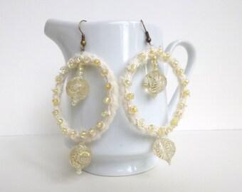 White hoop earrings, bohemian, gypsy, Coachella, statement earrings, romantic, statement, up cycled, wearable fiber art