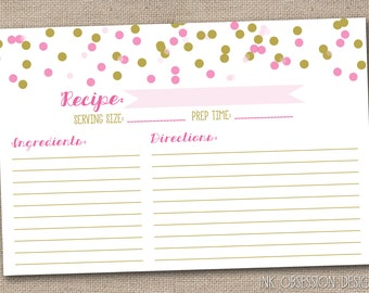 Pink & Gold Printable Recipe Cards PDF