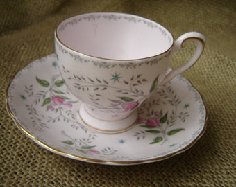 Vintage Floral Demitasse Cup And Saucer Tuscan English Bone China Demi Set Pink Floral  Wedding Decor