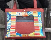 Patchwork tote with textured red vinyl