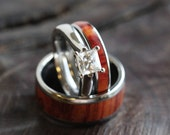 Tulip Wood Wedding Ring Set, Moissanite Engagement Ring With A Thin Wood Ring For Her And A Matching Wood Band For Him