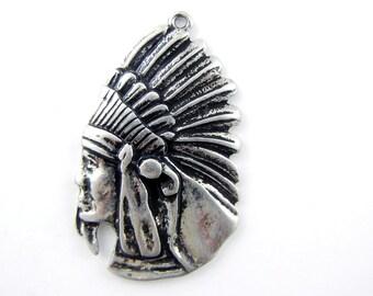 American Indian Profile Charm Pendant Antique Silver-tone