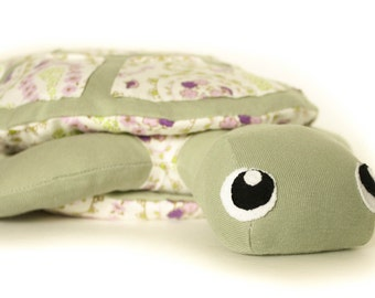 OOAK 100% Organic Cotton Stuffed Toy -- Turtle -- Sage green with paisley print, organic cotton inside & out